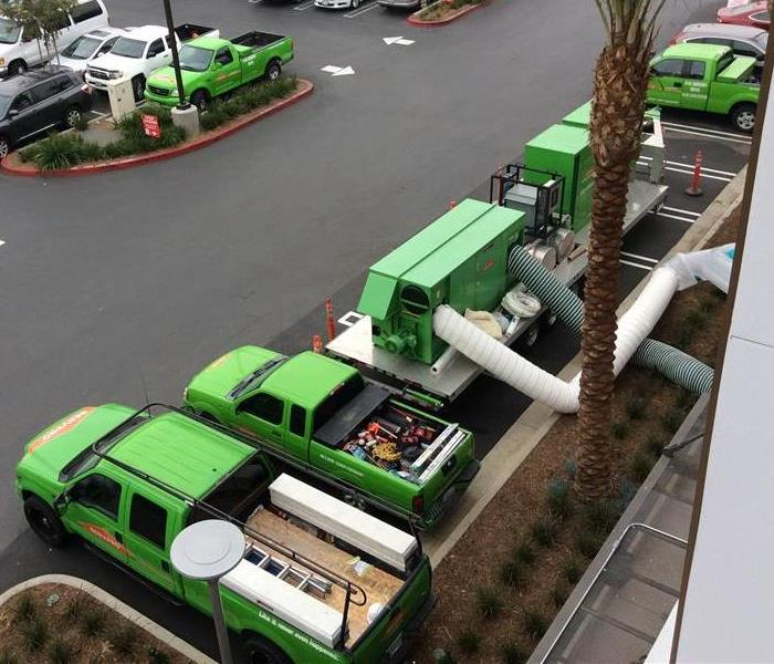 Servpro trucks lined up in a parking lot
